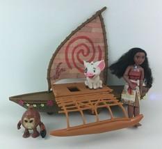 Moana Starlight Canoe Toy Figures 4pc Lot Doll Star Boat Pua Kakamora Di... - $31.14