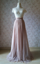 2020 Wedding Tulle Skirt High Waisted Bridesmaid Long Tulle Skirt, Light Taupe   image 2