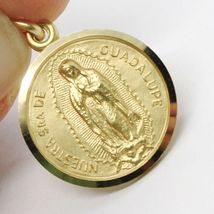 SOLID 18K YELLOW GOLD LADY OF GUADALUPE, 15 MM, ROUND MEDAL MADE IN ITALY SENORA image 4