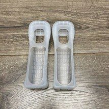 Official Nintendo Wii Remote Rubber Silicone Gel Cover Sleeves Clear Lot 2 Clean - $4.95