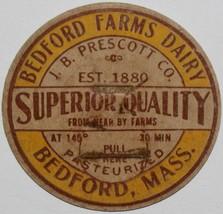 Vintage milk bottle cap BEDFORD FARMS DAIRY Massachusetts J B Prescott C... - $9.99