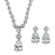 "27.82 TCW Cubic Zirconia 2-Piece Silvertone Earrings and Necklace Set 16""-19"" - $69.99"