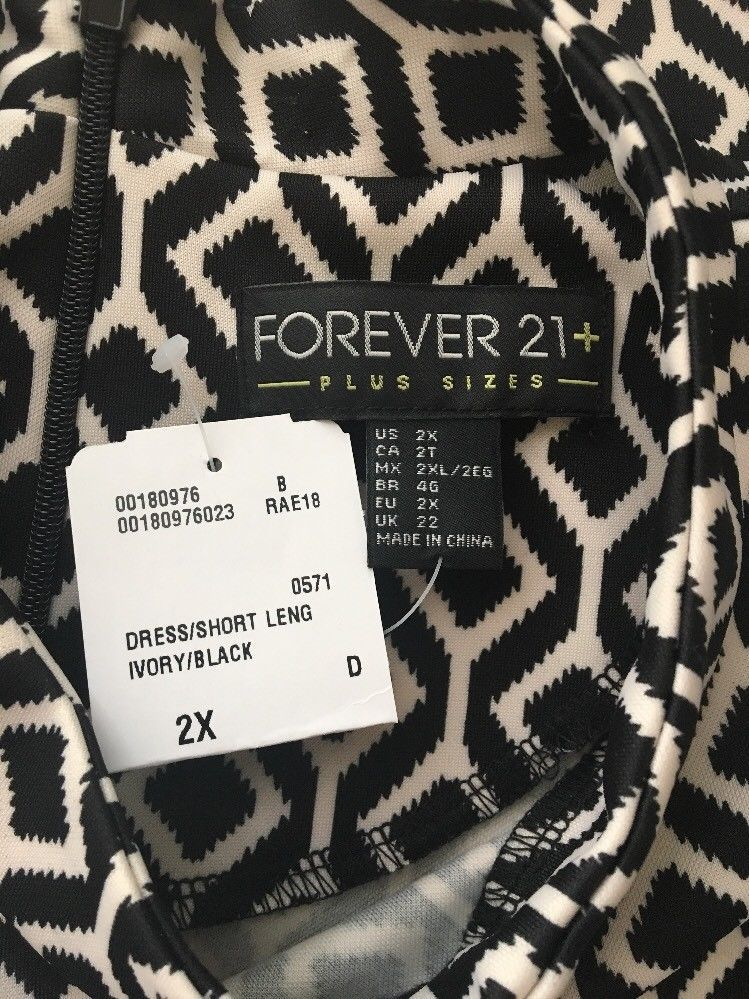 781d6d7fd2 Forever 21 + Womens Dress 2X Plus Black Ivory Mod Geometric Cut Out  Sleeveless