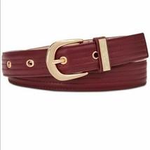 Steve Madden Trapunto Stitch Belt Size Medium Burgundy New  - $17.93