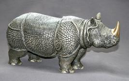 ASIAN RHINOCEROS BRONZE INDIAN RHINO ART DETAILED WOW! - $1,277.10