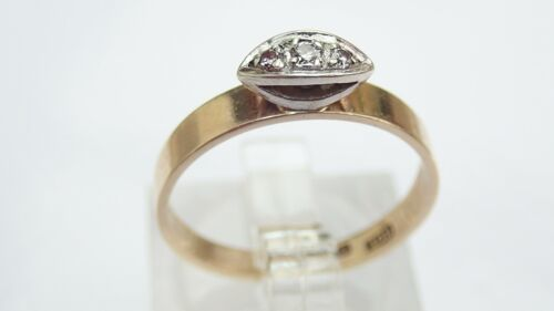 Primary image for Diamond Boat Ring 3x Stone 9K Gold Size M1/2 1.87g #50