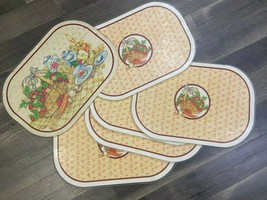 B of A Vintage Placemats 1982 Strawberries Laminate Lot of 6 Oval Revers... - $19.79