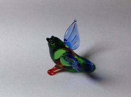 Miniature Glass green and blue tropical bird   Handmade Blown Glass Made USA image 6