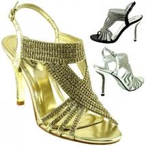 Ladies Evening Prom Bridesmaids Diamante Heel Party Sandals Wedding Brid... - $20.77