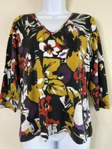 Chicos Womens Size 1 Floral V Neck Blouse 3/4 Sleeve - $16.76