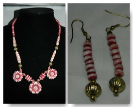 VTG Dyed Bovine Bone Carved Magenta Flower Necklace & Earring Set - $39.60