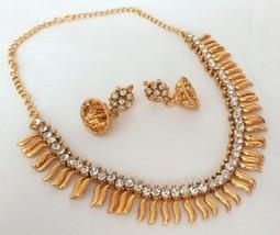 Indian Bollywood Fashion Gold Plated White Rhinestone Bridal Jewellery Necklace - $11.12