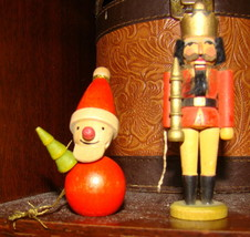 Nice Nutcracker Wooden Christmas Tree Ornament Red Soldier & Santa Claus... - $20.00