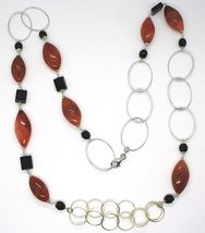 Necklace Silver 925, Jasper Oval, Onyx, Length 90 cm, Circles Large image 3