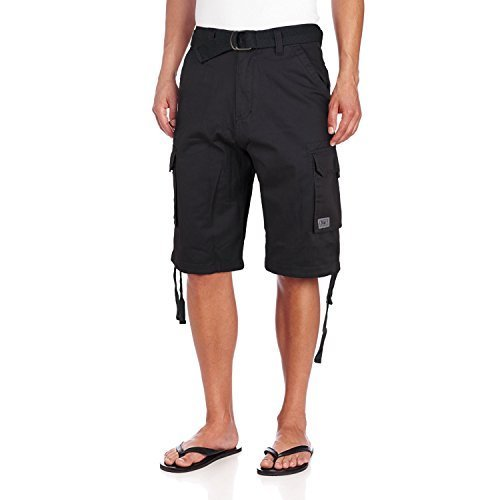 JMC Men's Premium Cotton Slim Fit Cargo Shorts With Woven Belt (34W, Black)