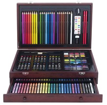 Art Set With Wood Case For Kids Teen Deluxe Wooden Box Artist Drawing Ki... - $40.35