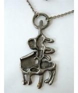 Vintage Brutalist Modernist Svenskt Tenn Pewter Pendant Necklace G. Son ... - $67.32