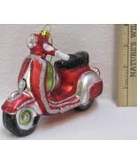 Moped Motorcycle Christmas Ornament Hand Blown Glass Glitter Living Quar... - $9.36