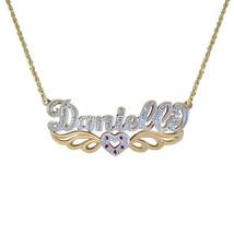 0.15 Carat Diamond & 0.05 Carat Rubies 'Danielle' Nameplate Pendant 14K Two Tone - $454.41