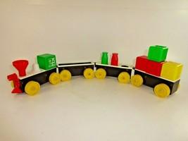 Vintage Toy Black Plastic Train Engine plus 3 Cars w/ Blocks / Bottles C... - $23.64