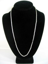 """Revlon ROPE NECKLACE Vintage Twisted Silvertone 24"""" CHAIN Costume Jewelr... - $12.99"""