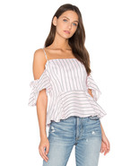 Milly Blush Striped Noelle Top Halter Off Shouler size 2 $310 NWT Cotton... - $116.86