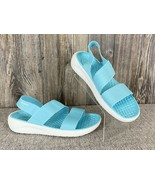 CROCS ~Lite Ride Sandals Womens 11 Turquoise Blue/White Stretchy Straps ... - $27.71