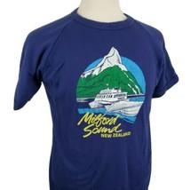 Vintage Milford Sound New Zealand Ringer T-Shirt Crew Large Blue Raglan ... - $44.99