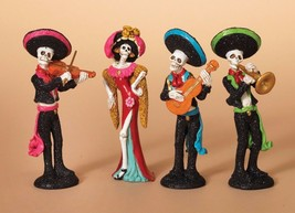 DAY OF THE DEAD HAND PAINTED & GLITTERED RESIN 4 PIECE ORCHESTRA FIGURE SET - $18.88