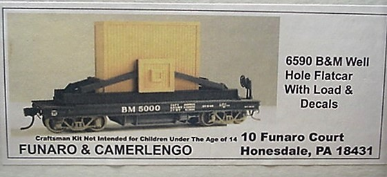 Funaro & Camerlengo HO Boston & Maine well hole flat car with load Kit 6590