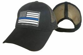 Black USA Police Thin Blue Line Low Profile Hat Baseball (Mesh Trucker Snapback) - $14.99