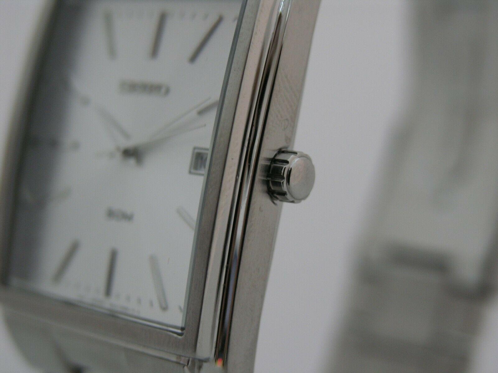 Seiko mens watches quartz rectangular case stainless steel bracelet SKK681