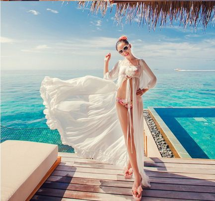 Sexy White Chiffon Swimwear Bikini Cover Up Beach Long Casual Dress