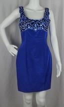 Vintage zum zum womens dress sleeveless party cocktail blue cotton size 7/8 - $16.90