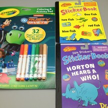 Lot of 3 Activity Coloring Sticker Books Dr Seuss Rusty Rivets Crayola A... - $5.79