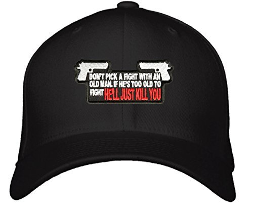 Funny Gun Hat - Adjustable Mens Black/White Cap - Don't Pick A Fight With An Old