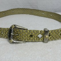 "Gold Studded Dimond Crystal Leather Belt Silver Buckle Women's L 42"" - $29.65"