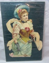 Victorian embossed die cut. Lady in fancy dress holding a rifle gun - $15.99
