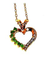 Emerald Heart Pendant natural untreated .25 carats with chain - $62.25