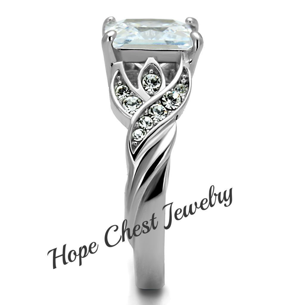 HCJ WOMEN/'S STAINLESS STEEL 2.9 CARAT PRINCESS CUT ENGAGEMENT RING SIZE 10