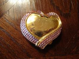 Vintage Estee Lauder Lucidity Pressed Powder Compact – Heart w/Pink Rhinestones - $19.99