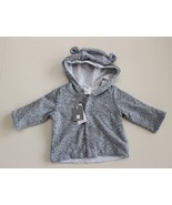 baby Gap Bear Ears Hoodie Unisex Size 0-3 m snap sweater coat lined Gray... - $16.80