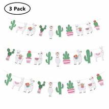 Kiiier 3 Pcs Llama Banner, Cactus Birthday Banner Garland Decorations, Party Str - $14.84