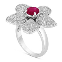 Ruby And Diamonds Flower Engagement Ring 2.65 Carat 14K White Gold Handmade - $4,800.00