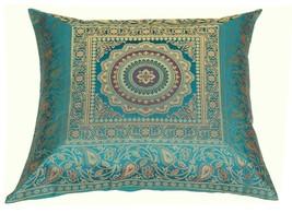 "16"" x 16"" Teal Mandala Silk Brocade Cushion Cover Pillow Throw Sofa Home Decor image 2"