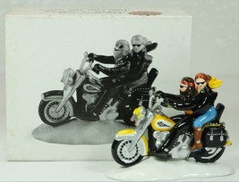 Dept 56 Snow Village HARLEY DAVIDSON TWO FOR THE ROAD, yellow New in Box... - $24.99
