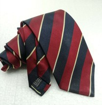Striped neck tie blue red gold 100% silk Made in Italy business / weddin... - $25.92