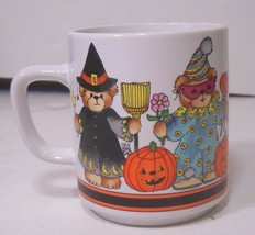 Lucy Rigg 1984 Enesco Halloween Coffee Mug Cup Witch Pirate Ghost Clown Cat - $12.64