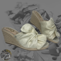 Circus by Sam Edelman Womens White Slip On Wedge Heels Espadrille Sandals Sz 7.5 - $45.00