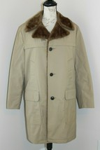 Woolrich 38 Solid Beige Winter Jacket Faux Fur Lining Collar Long Coat U... - $56.99